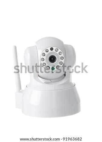Wireless surveillance camera isolated on white background - stock photo
