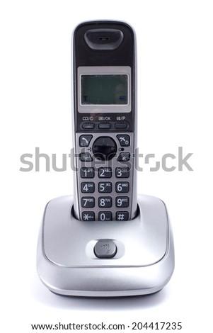 wireless telephone on white - stock photo