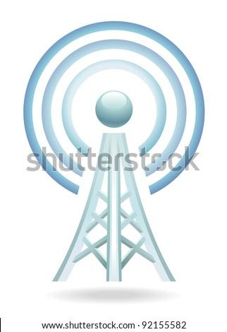 wireless tower icon - stock photo