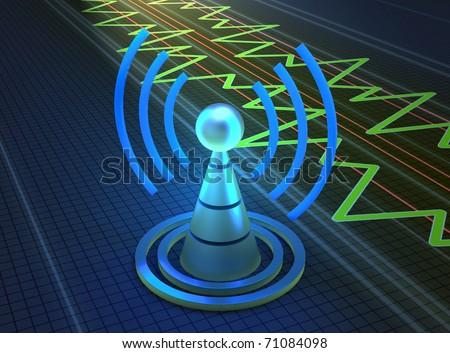 Wireless tower with radio waves - stock photo