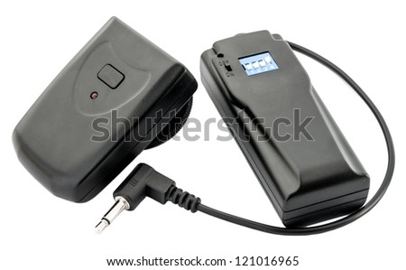 Wireless trigger (receiver and transmitter) on the white background - stock photo