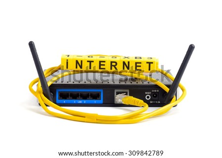 wireless wi-fi router with two antennas cable and sign isolated - stock photo