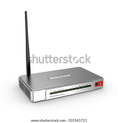 Wireless wifi Router on white isolated background. 3d - stock photo