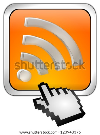 wireless WiFi Wlan button with cursor - stock photo