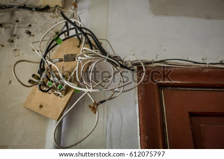 Wires Hanging Ceiling Old House During Stock Photo (Royalty Free ...