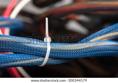 wires of the PSU closeup - stock photo