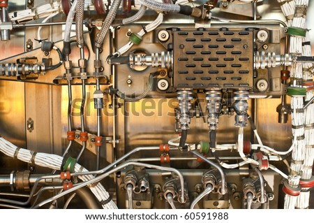 wiring and hydraulics as used in the aviation industry - stock photo