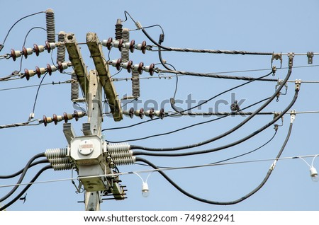 stock photo wiring harness on the power poles 749822941 wiring harness stock images, royalty free images & vectors Wire Harness Assembly at virtualis.co