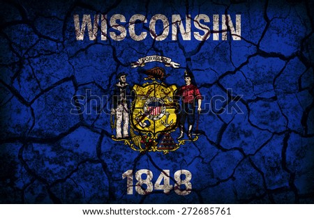 Wisconsin flag pattern on crack soil texture,retro vintage style - stock photo
