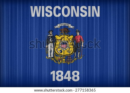 Wisconsin flag pattern on the fabric curtain, vintage style - stock photo