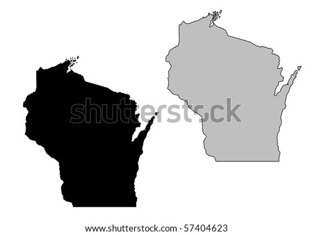 Wisconsin map. Black and white. Mercator projection. - stock photo