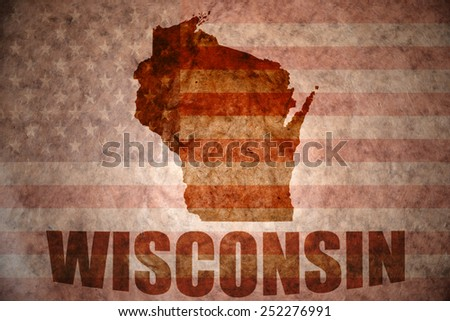 wisconsin map on a vintage american flag background - stock photo