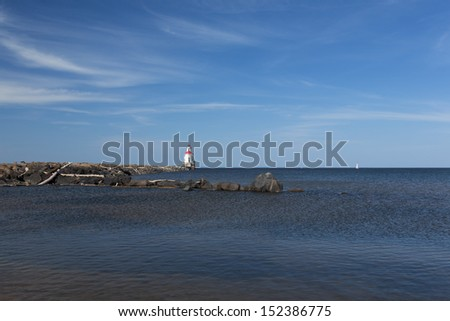 Wisconsin Point Lighthouse - stock photo