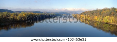 Wisconsin River and Prairie de Chen with Autumn colors, Wisconsin - stock photo