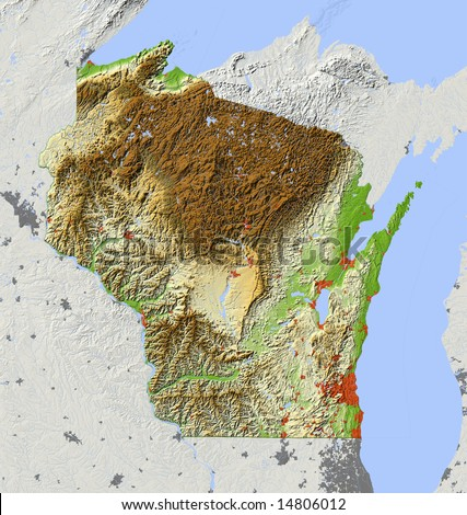 Wisconsin. Shaded relief map, with major urban areas, surrounding territory greyed out. Colored according to elevation. Clip path for the state area included. Data sources: US Census Bureau, NASA - stock photo