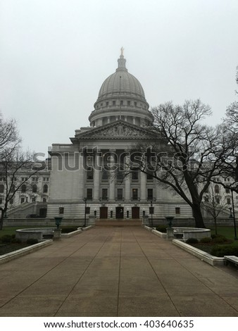 Wisconsin state capitol building on a foggy day.