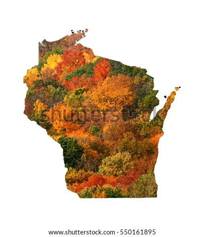 Wisconsin state outline isolated on white Fall colors, vivid orange and yellow, rustic autumn, colorful bright. Wisconsin the badger state, traditional beautiful trees foliage typical rural Wisconsin