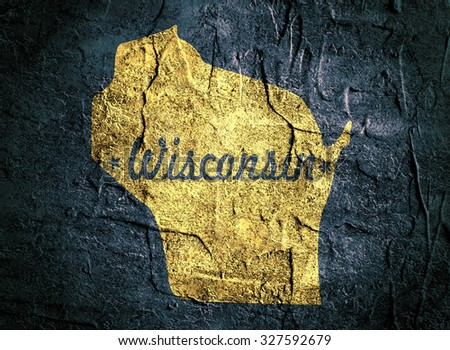 Wisconsin state yellow outline map on grunge dark blue background with state name
