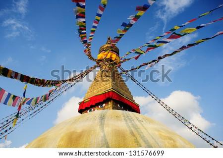 Wisdom eyes, Bodhnath, Nepal - stock photo