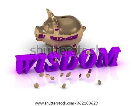 WISDOM- inscription of green letters and gold Piggy on white background - stock photo