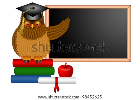 Wise Horned Owl Professor Sitting on Books with Chalkboard Apple Diploma and Books in Classroom Illustration - stock photo
