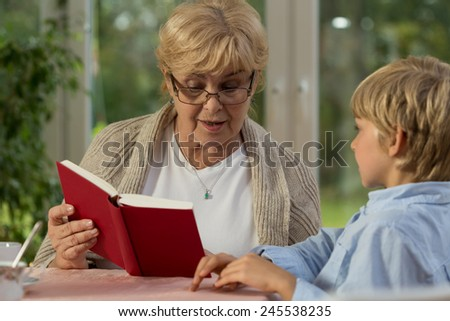 Wise lovely grandmother and her little cute grandson - stock photo
