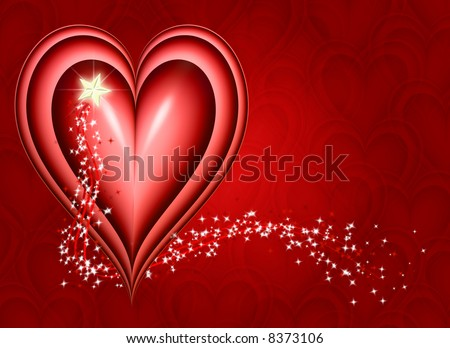 wishing for you with a big red heart with a shiny star - stock photo