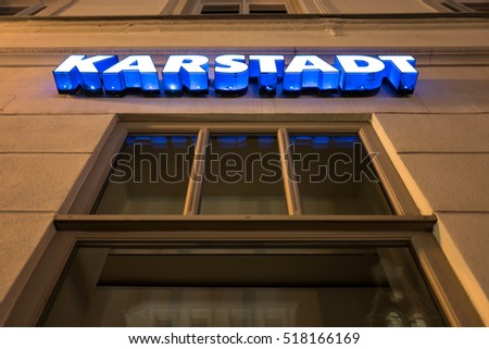 WISMAR, GERMANY - November 6, 2016: Karstadt lettering at department store. Karstadt is a German department store chain with headquarters in Essen, Germany.