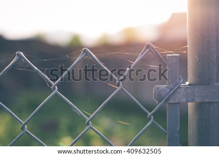 Wispy cobwebs on a chained link fence at sunrise, soft focus.   - stock photo