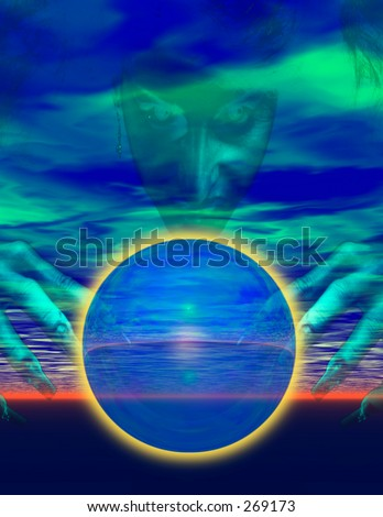 witch and crystal ball - stock photo