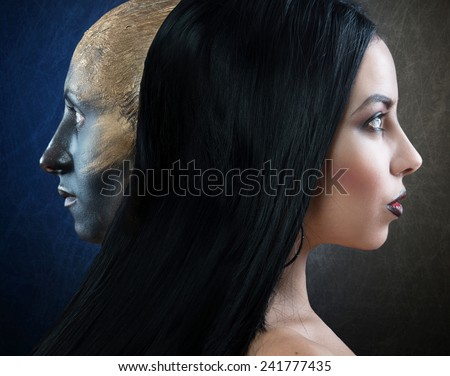 Witch and her familiar, profile portrait  - stock photo