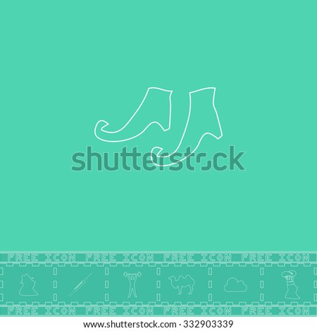 Witch boots. White outline flat icon and bonus symbol. Simple illustration pictogram on green background
