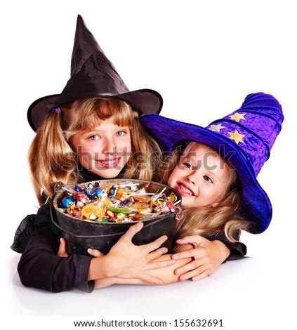 Witch  children with trick or treat. Halloween.