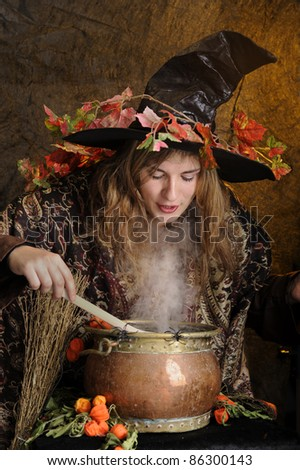 witch cooking in a copper cauldron - stock photo