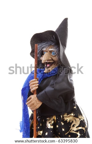 witch doll for halloween over white background - stock photo