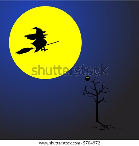 Witch flying on a broom stick across a full moon. Concept: Halloween. - stock photo