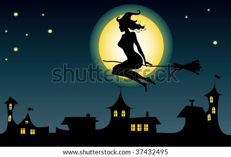 Witch flying over a town