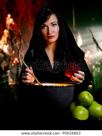Witch from a fairy tale of Snow White - stock photo