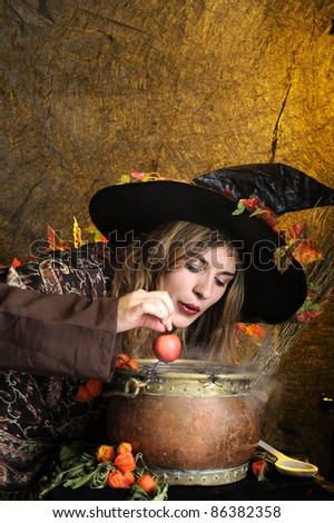 witch giving a poisoned apple. - stock photo
