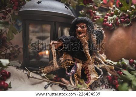 witch halloween pumpkin wicker basket halloween toy horror czech russian - stock photo