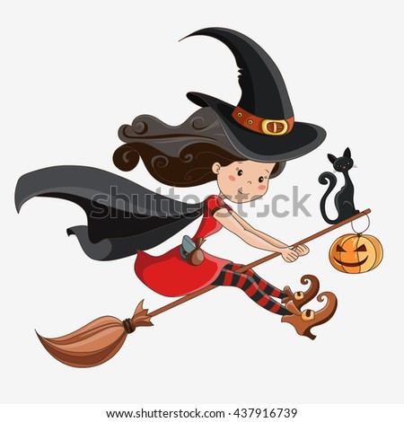 witch halloween witch little witch flying witch element for design prints - Flying Halloween Witch