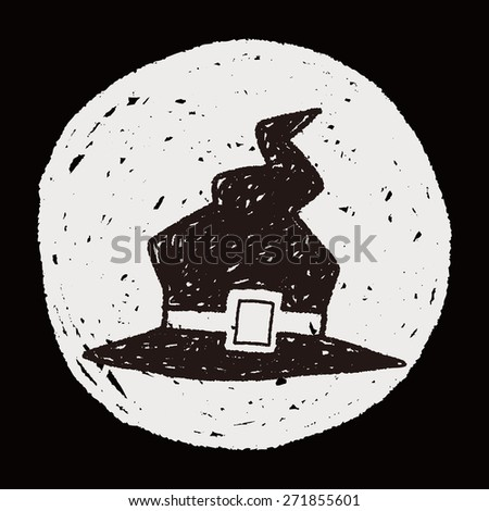 witch hat doodle - stock photo
