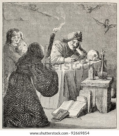 Witch old illustration. After painting of  Teniers (Diabolical reading) kept in Bordeaux museum, published on Merveilles de la Nature, Bailliere et fils, Paris, ca. 1878 - stock photo