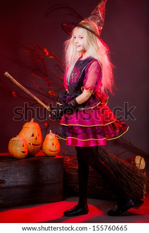 witch on a broom on Halloween in full growth