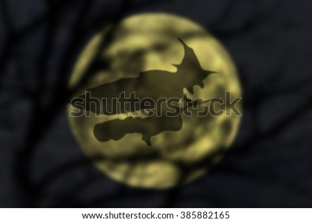 witch on broom , Hexe auf Besen, Epifania - stock photo