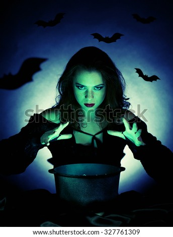 Witch on dark background with vector images - stock photo