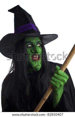 Witch on her broomstick, white background.