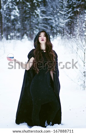 Witch or woman in black cloak with glass ball in white snow forest - stock photo