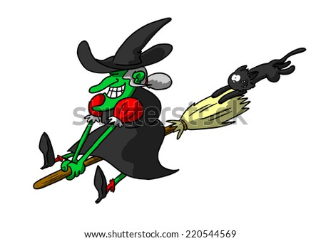 Witch riding broom with cat in tow - stock photo