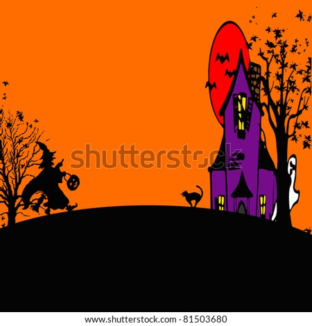 Witch Trick or Treating on Halloween Night with room for your text - stock photo